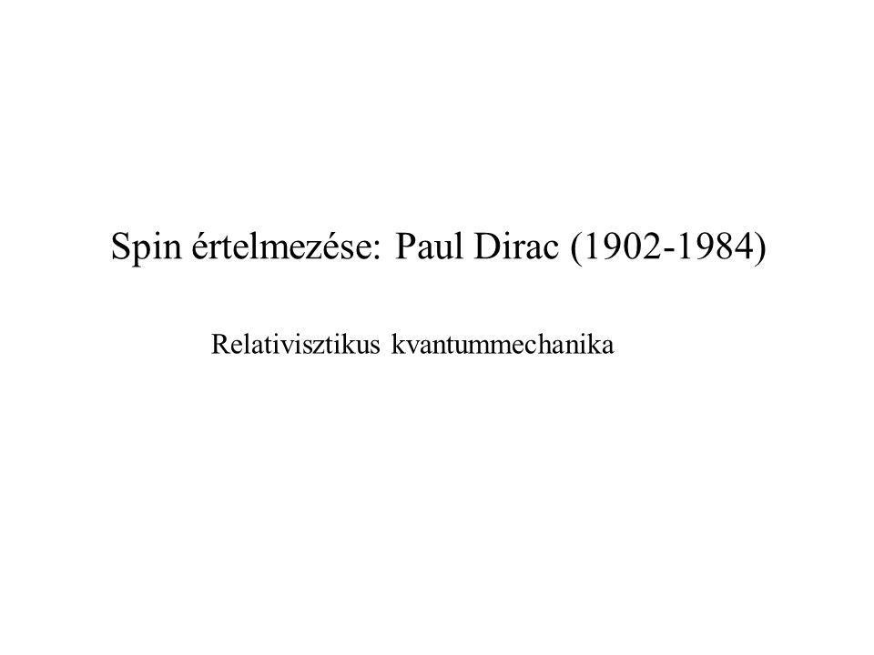Spin értelmezése: Paul Dirac (1902-1984) Relativisztikus kvantummechanika