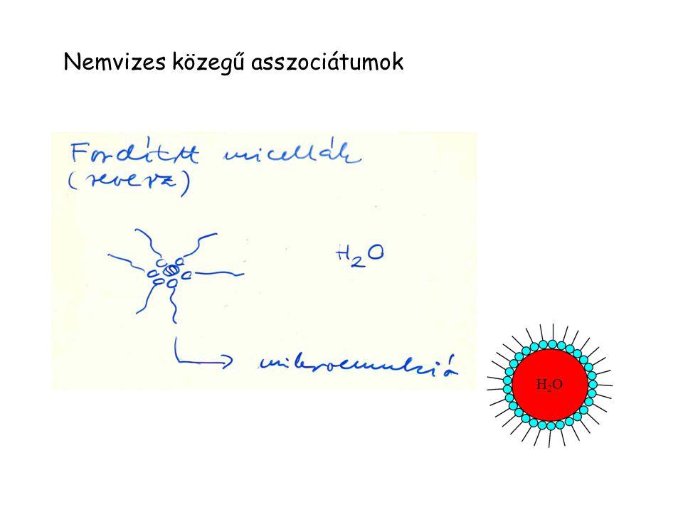 Nemvizes közegű asszociátumok H2OH2O