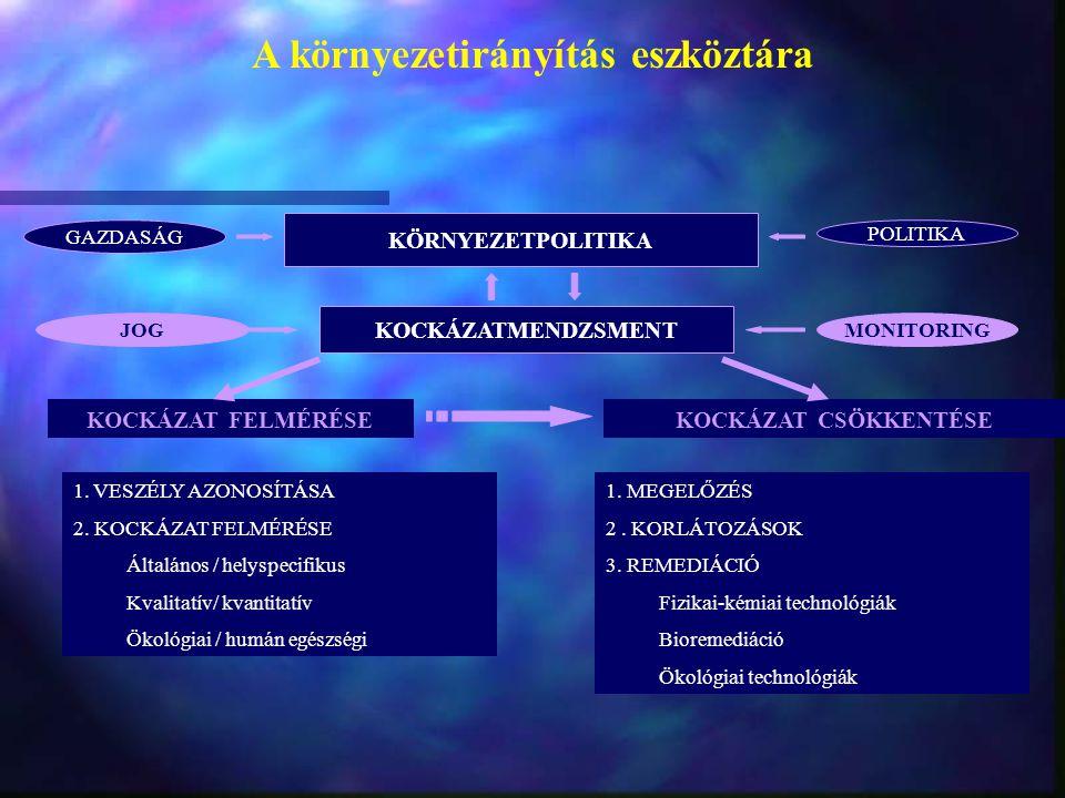A környezetirányítás eszköztára KÖRNYEZETPOLITIKA GAZDASÁG POLITIKA KOCKÁZATMENDZSMENT JOGMONITORING KOCKÁZAT FELMÉRÉSEKOCKÁZAT CSÖKKENTÉSE 1. VESZÉLY