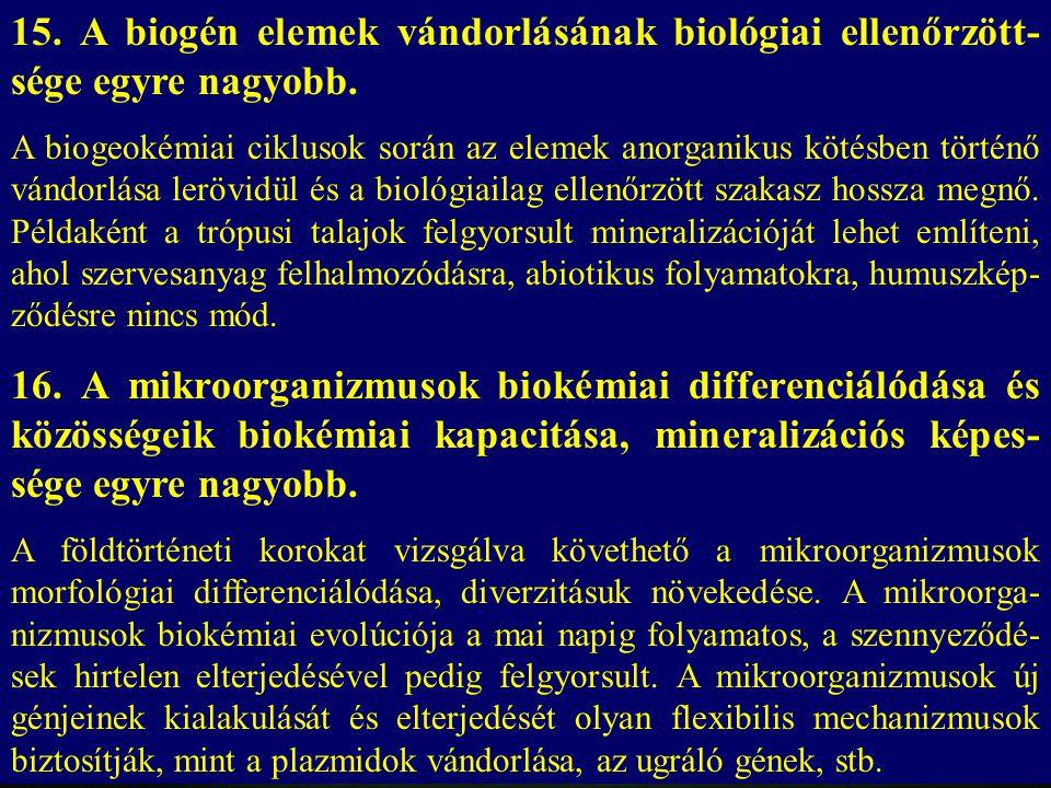 15. A biogén elemek vándorlásának biológiai ellenőrzött- sége egyre nagyobb. A biogeokémiai ciklusok során az elemek anorganikus kötésben történő vánd