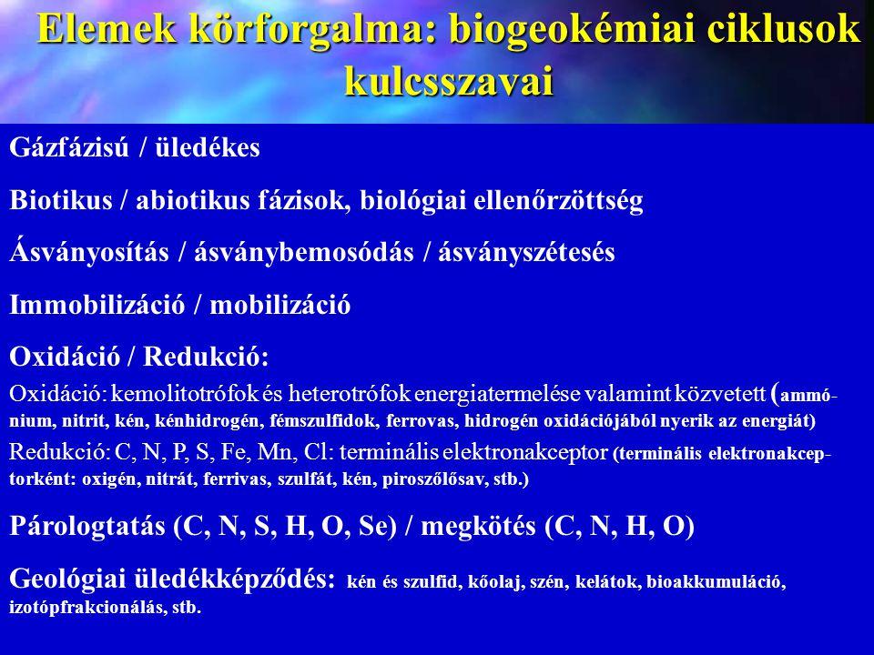 Elemek körforgalma: biogeokémiai ciklusok kulcsszavai Gázfázisú / üledékes Biotikus / abiotikus fázisok, biológiai ellenőrzöttség Ásványosítás / ásván