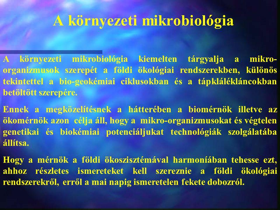A környezeti mikrobiológia A környezeti mikrobiológia kiemelten tárgyalja a mikro- organizmusok szerepét a földi ökológiai rendszerekben, különös teki