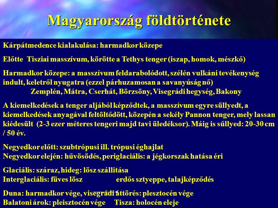 Magyarország földtörténete Kárpátmedence kialakulása: harmadkor közepe Előtte Tisziai masszívum, körötte a Tethys tenger (iszap, homok, mészkő) Harmad
