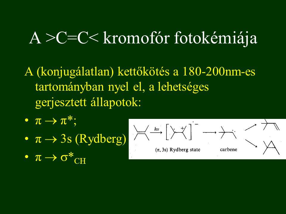 A (konjugálatlan) kettőkötés a 180-200nm-es tartományban nyel el, a lehetséges gerjesztett állapotok: π  π*; π  3s (Rydberg) π   * CH A >C=C< kromofór fotokémiája