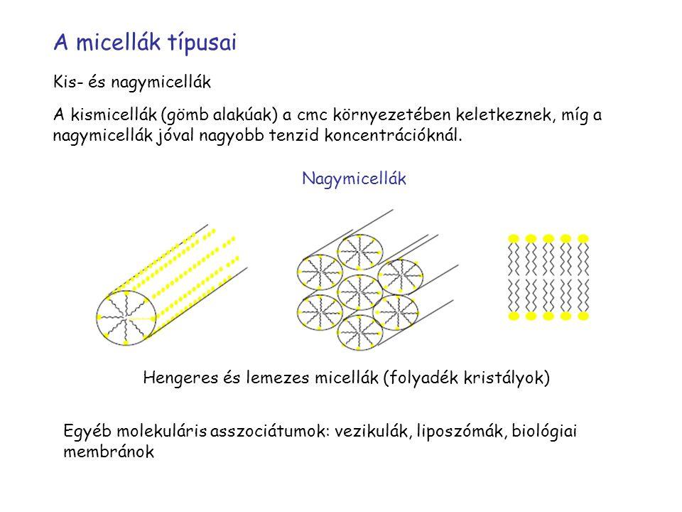 A micellák típusai Kis- és nagymicellák A kismicellák (gömb alakúak) a cmc környezetében keletkeznek, míg a nagymicellák jóval nagyobb tenzid koncentrációknál.