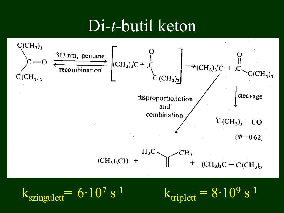Di-t-butil keton k szingulett = 6·10 7 s -1 k triplett = 8·10 9 s -1