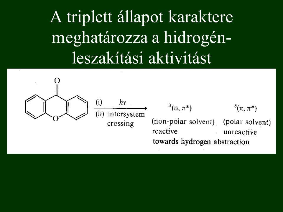 A triplett állapot karaktere meghatározza a hidrogén- leszakítási aktivitást