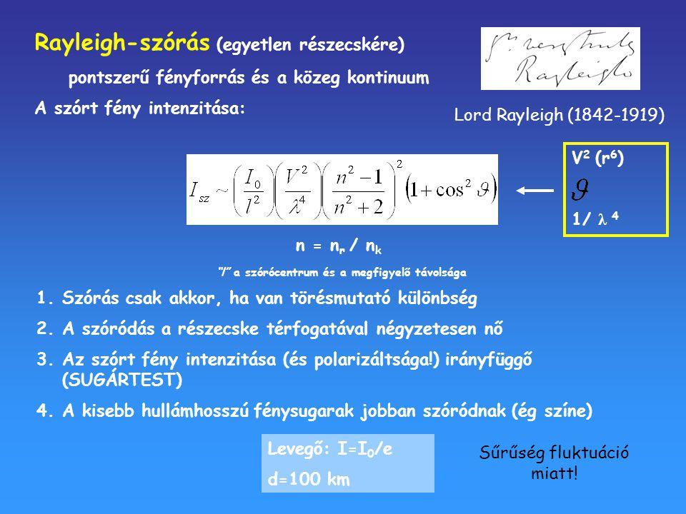 """Rayleigh-szórás (egyetlen részecskére) pontszerű fényforrás és a közeg kontinuum A szórt fény intenzitása: n = n r / n k """"l"""" a szórócentrum és a megfi"""