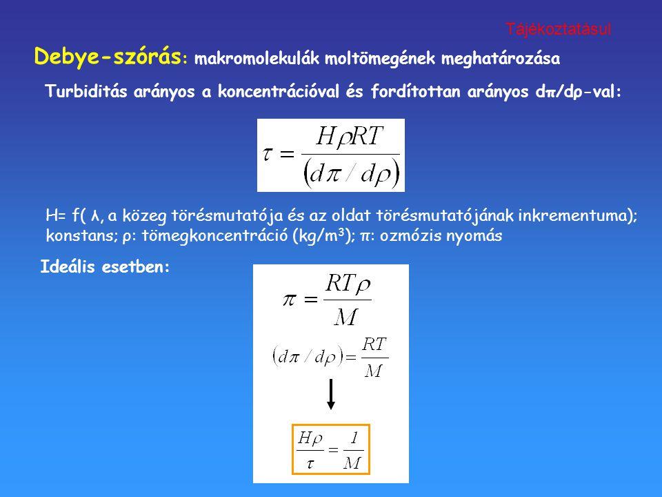 Debye-szórás : makromolekulák moltömegének meghatározása H= f( λ, a közeg törésmutatója és az oldat törésmutatójának inkrementuma); konstans; ρ: tömeg