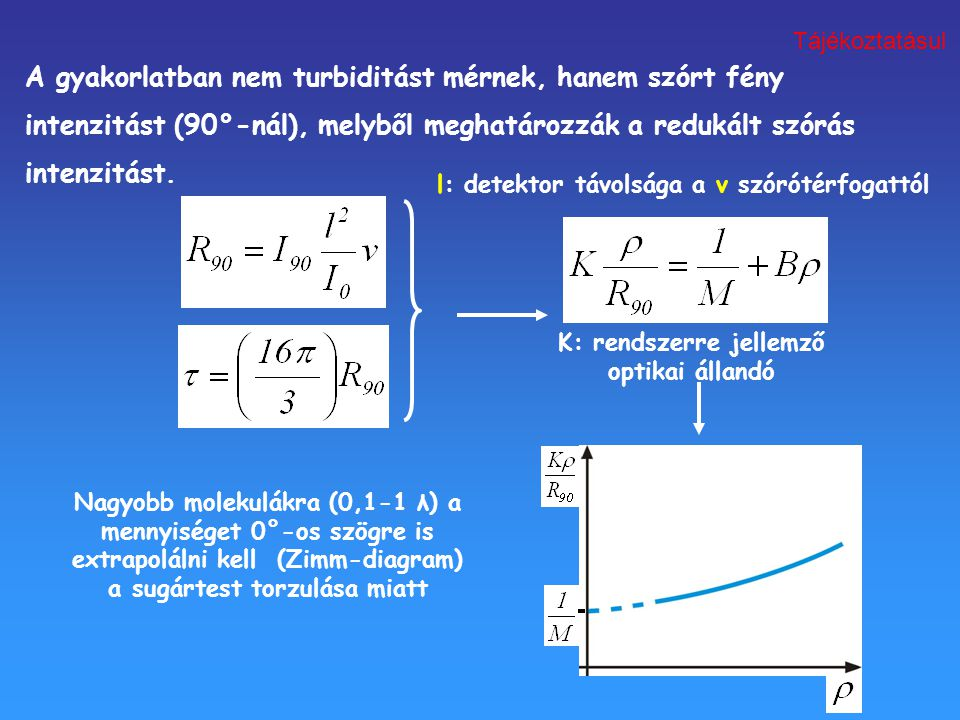 A gyakorlatban nem turbiditást mérnek, hanem szórt fény intenzitást (90°-nál), melyből meghatározzák a redukált szórás intenzitást. l: detektor távols