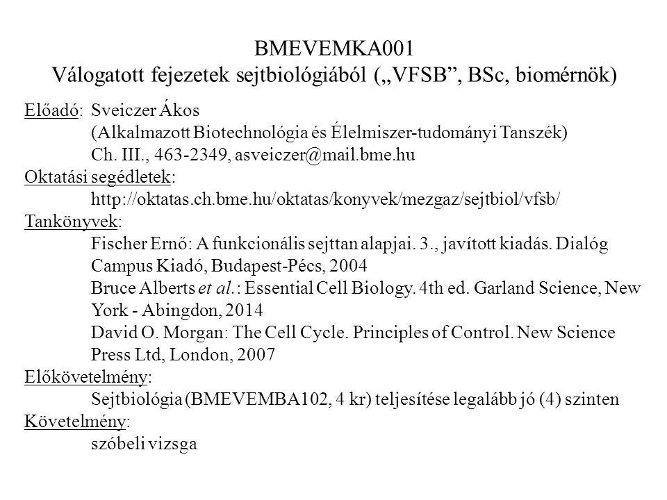 """BMEVEMKA001 Válogatott fejezetek sejtbiológiából (""""VFSB"""", BSc, biomérnök) Előadó:Sveiczer Ákos (Alkalmazott Biotechnológia és Élelmiszer-tudományi Tan"""