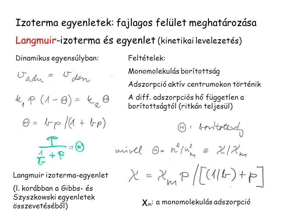 Izoterma egyenletek: fajlagos felület meghatározása Langmuir-izoterma és egyenlet (kinetikai levelezetés) Dinamikus egyensúlyban:Feltételek: Monomolek
