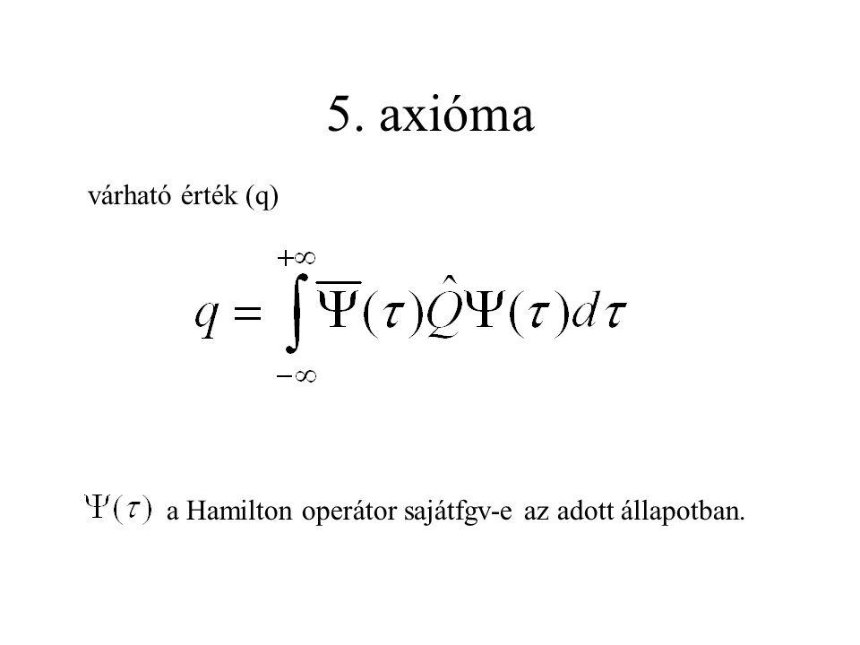 5. axióma várható érték (q) a Hamilton operátor sajátfgv-e az adott állapotban.