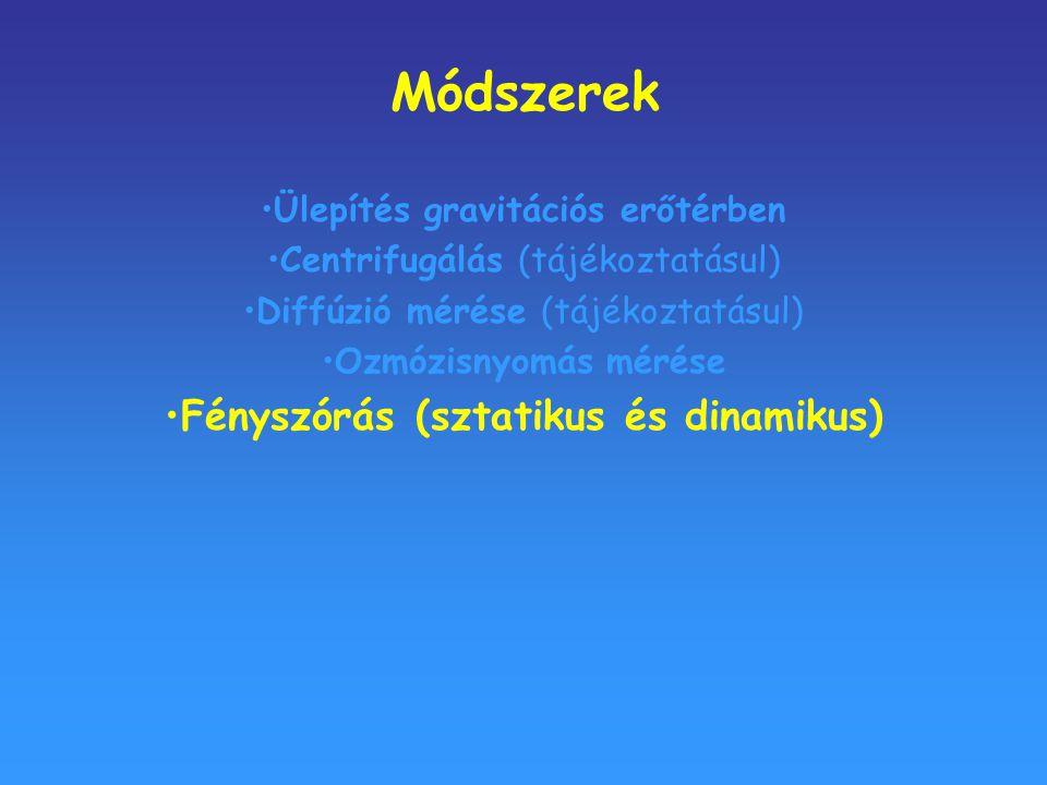 Módszerek Ülepítés gravitációs erőtérben Centrifugálás (tájékoztatásul) Diffúzió mérése (tájékoztatásul) Ozmózisnyomás mérése Fényszórás (sztatikus és