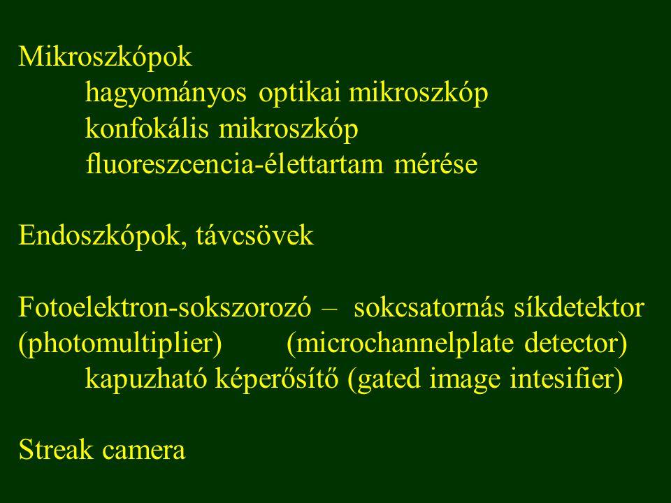 Mikroszkópok hagyományos optikai mikroszkóp konfokális mikroszkóp fluoreszcencia-élettartam mérése Endoszkópok, távcsövek Fotoelektron-sokszorozó – sokcsatornás síkdetektor (photomultiplier)(microchannelplate detector) kapuzható képerősítő (gated image intesifier) Streak camera