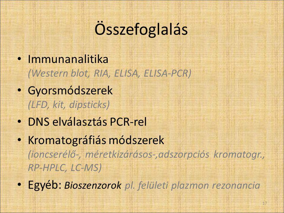 Összefoglalás Immunanalitika (Western blot, RIA, ELISA, ELISA-PCR) Gyorsmódszerek (LFD, kit, dipsticks) DNS elválasztás PCR-rel Kromatográfiás módszerek (ioncserélő-, méretkizárásos-,adszorpciós kromatogr., RP-HPLC, LC-MS) Egyéb: Bioszenzorok pl.