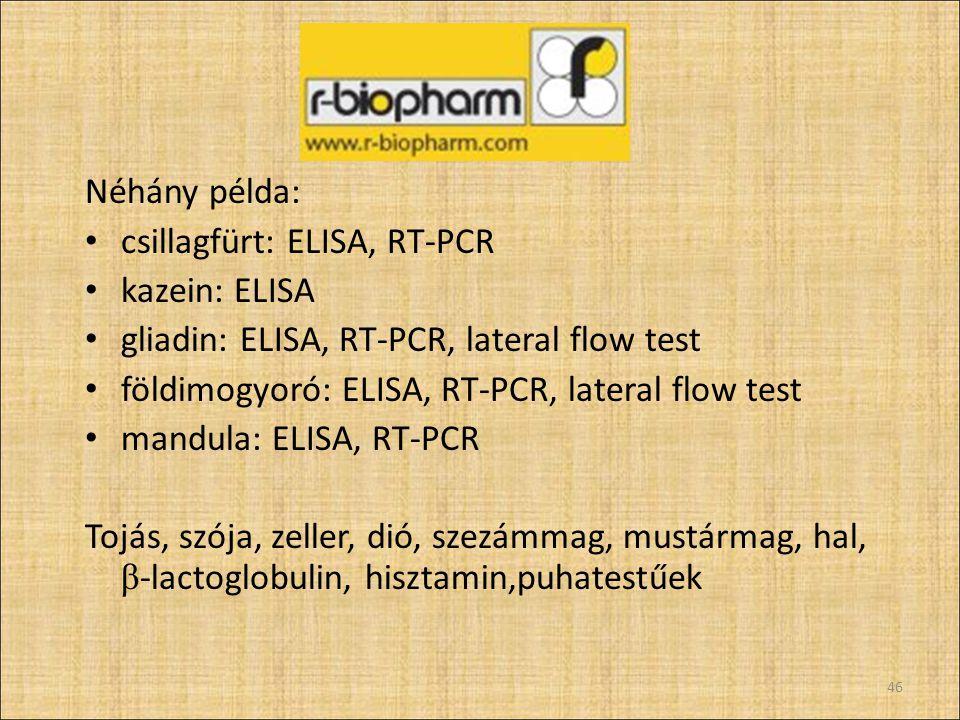 Néhány példa: csillagfürt: ELISA, RT-PCR kazein: ELISA gliadin: ELISA, RT-PCR, lateral flow test földimogyoró: ELISA, RT-PCR, lateral flow test mandul