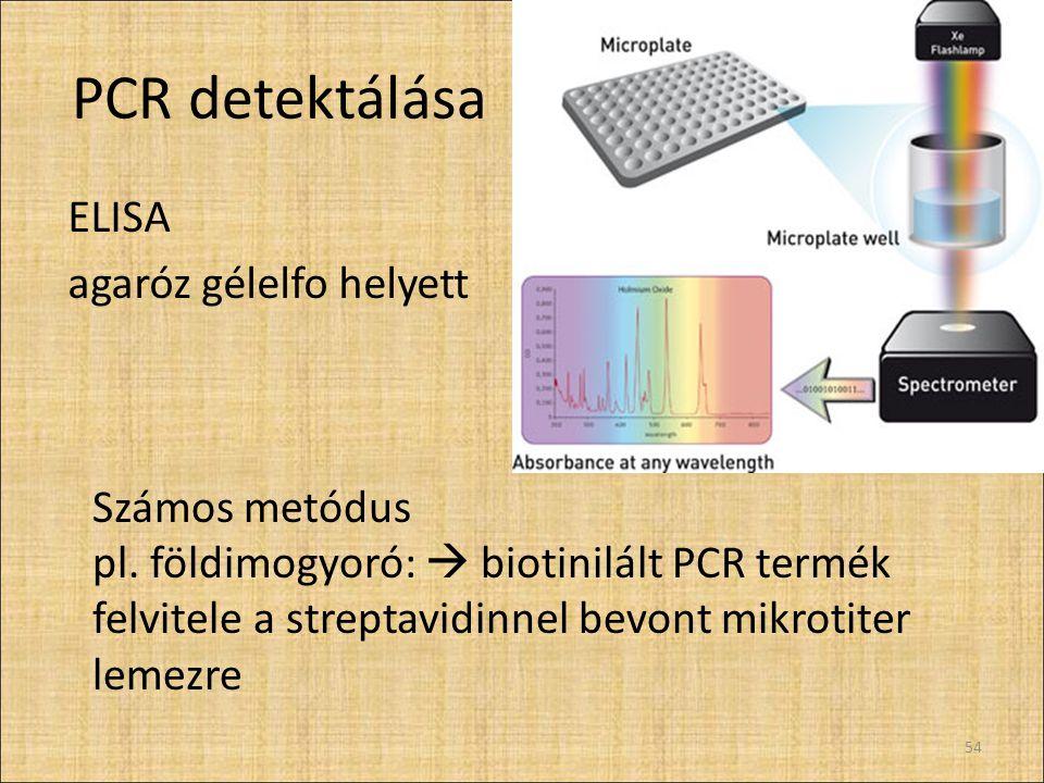 PCR detektálása ELISA agaróz gélelfo helyett 54 Számos metódus pl. földimogyoró:  biotinilált PCR termék felvitele a streptavidinnel bevont mikrotite