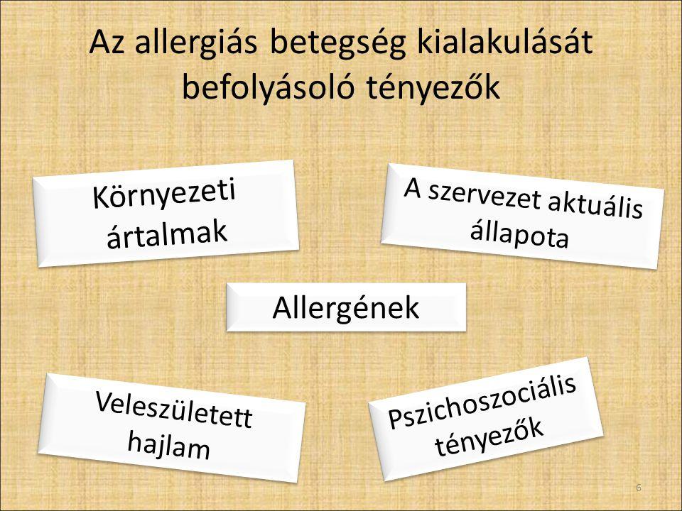 Az allergiás betegség kialakulását befolyásoló tényezők 6 Környezeti ártalmak Allergének Veleszületett hajlam A szervezet aktuális állapota Pszichoszociális tényezők