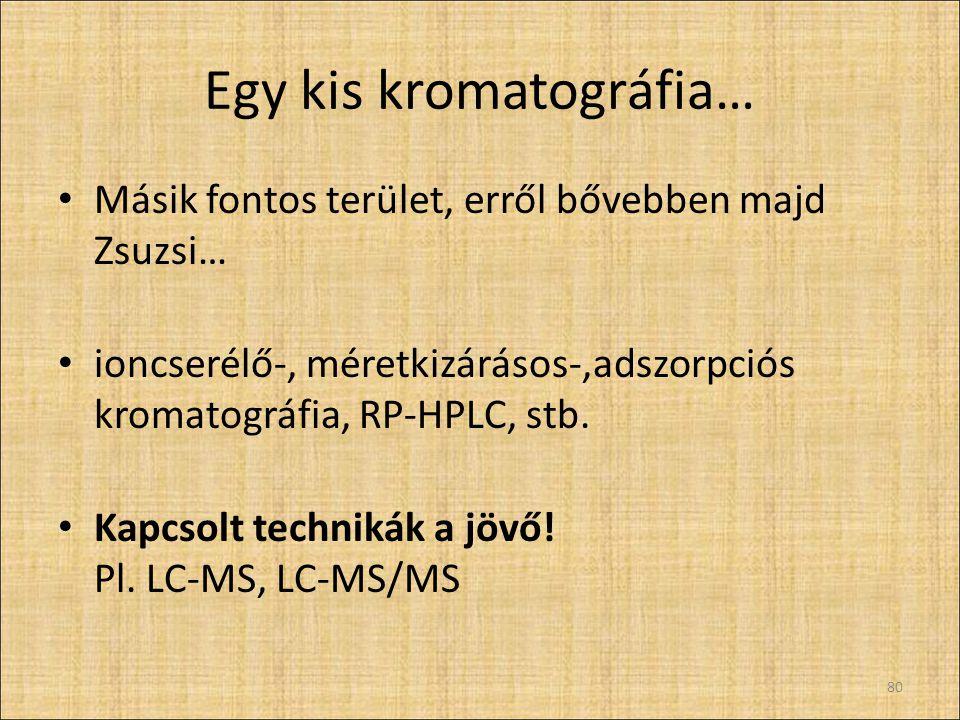 Egy kis kromatográfia… Másik fontos terület, erről bővebben majd Zsuzsi… ioncserélő-, méretkizárásos-,adszorpciós kromatográfia, RP-HPLC, stb.