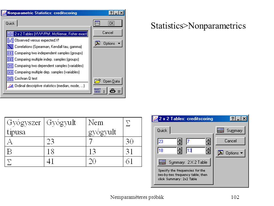 Nemparaméteres próbák102 Statistics>Nonparametrics