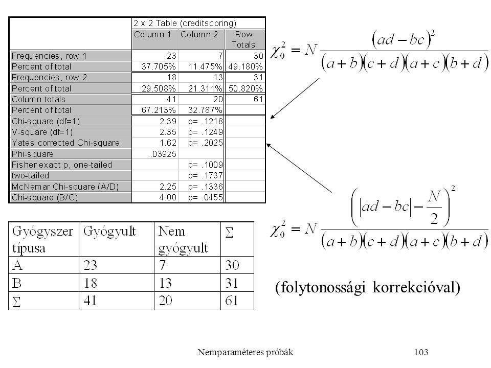 Nemparaméteres próbák103 (folytonossági korrekcióval)