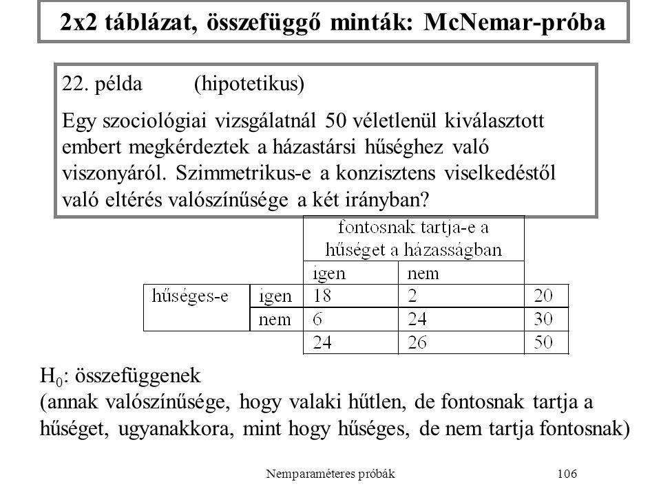 Nemparaméteres próbák106 2x2 táblázat, összefüggő minták: McNemar-próba 22. példa(hipotetikus) Egy szociológiai vizsgálatnál 50 véletlenül kiválasztot