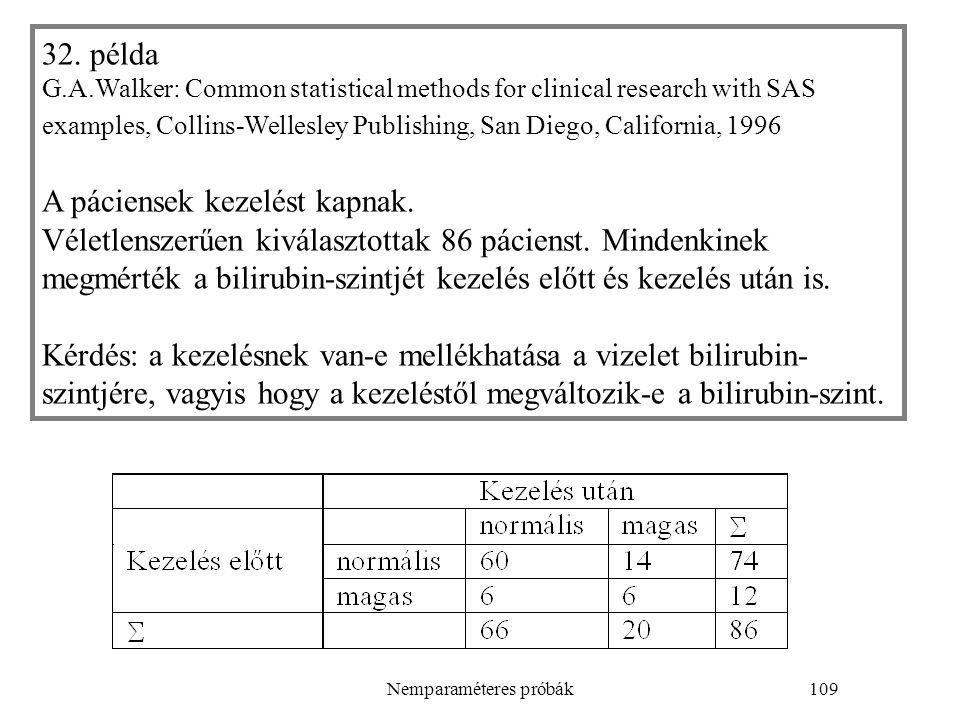 Nemparaméteres próbák109 32. példa G.A.Walker: Common statistical methods for clinical research with SAS examples, Collins-Wellesley Publishing, San D
