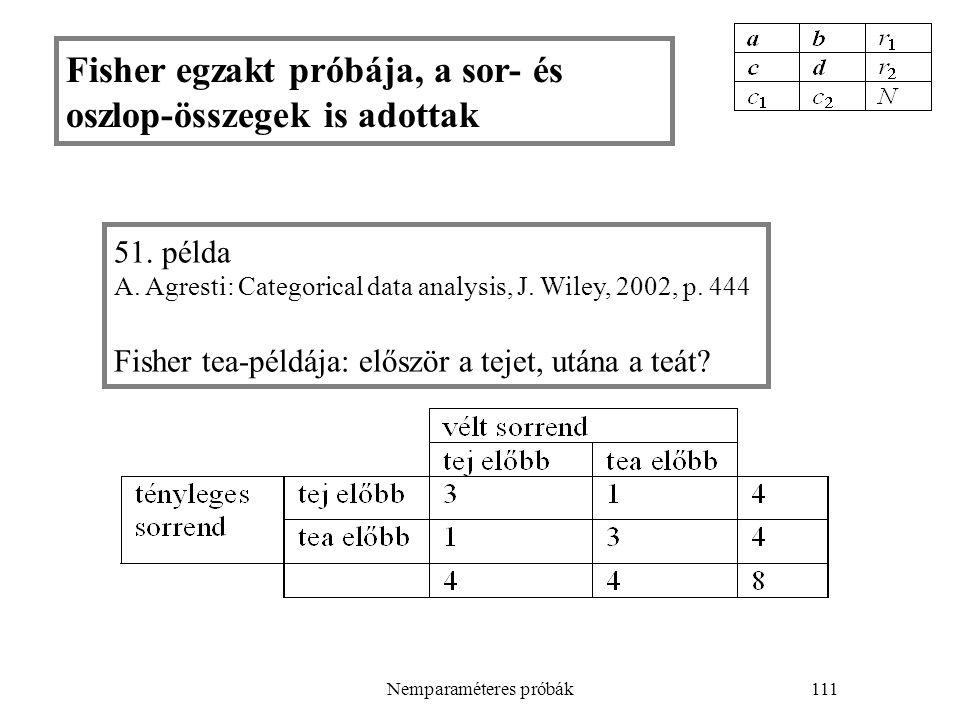 Nemparaméteres próbák111 51. példa A. Agresti: Categorical data analysis, J. Wiley, 2002, p. 444 Fisher tea-példája: először a tejet, utána a teát? Fi