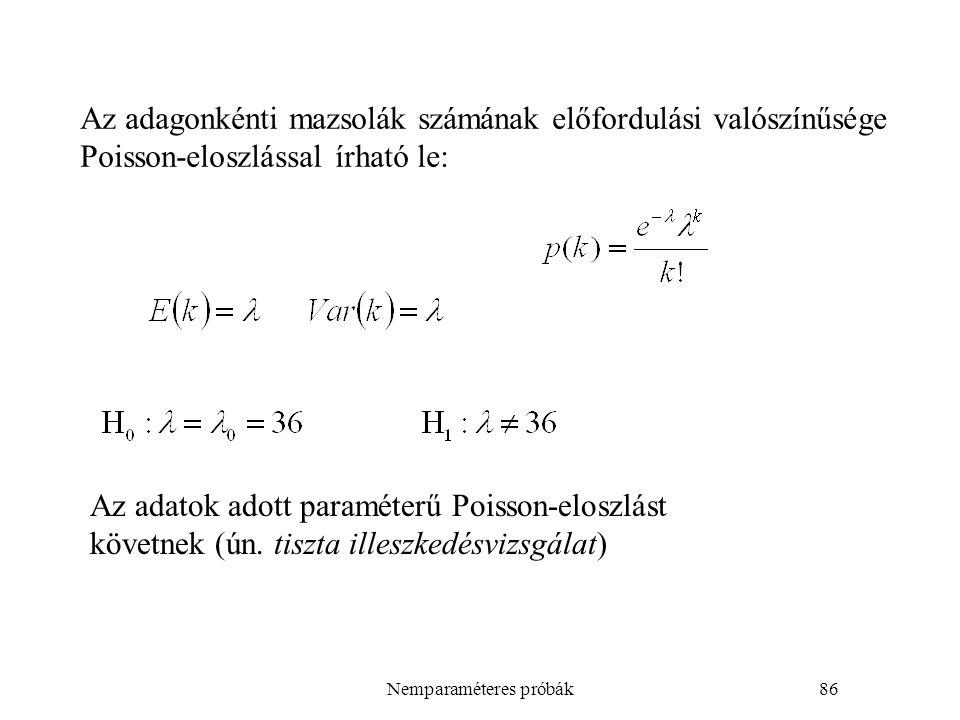 Nemparaméteres próbák86 Az adagonkénti mazsolák számának előfordulási valószínűsége Poisson-eloszlással írható le: Az adatok adott paraméterű Poisson-