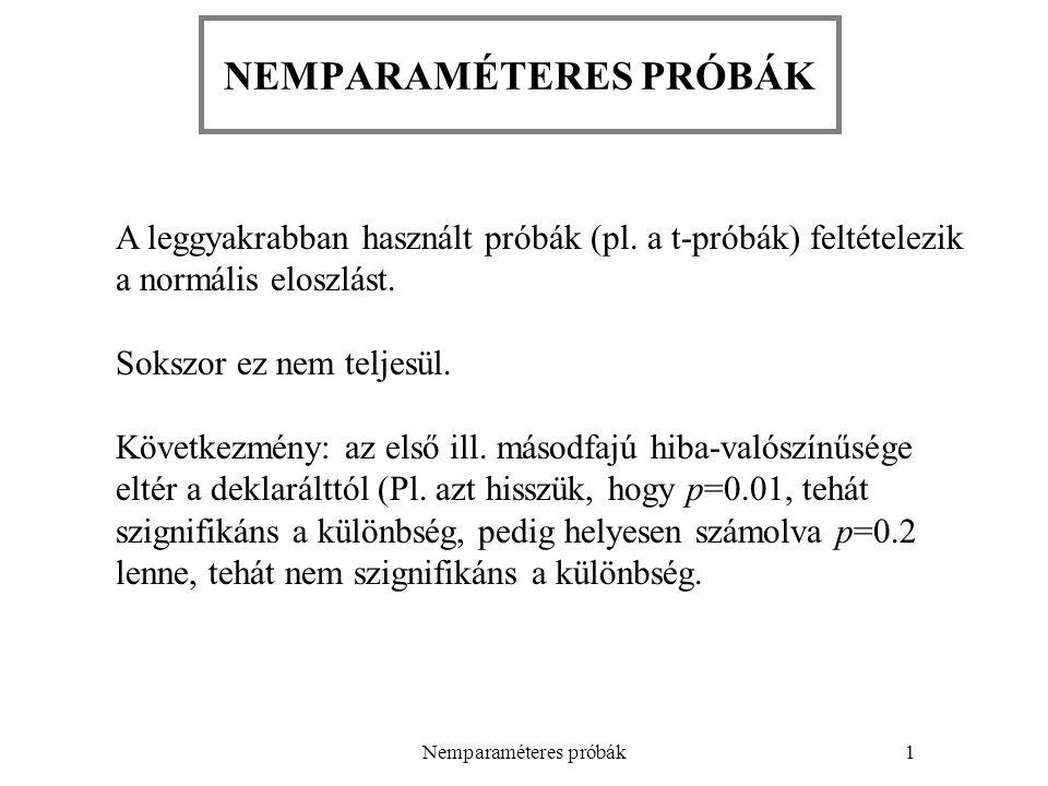 Nemparaméteres próbák2 Sokszor az adatok természete már nyilvánvalóvá teszi: a selejtarány binomiális vagy Poisson-eloszlású, őrlésnél a szemcseméret lognormális eloszlású Máskor csak az eloszlás vizsgálatával derül ki hisztogram normalitásvizsgálat (pl.