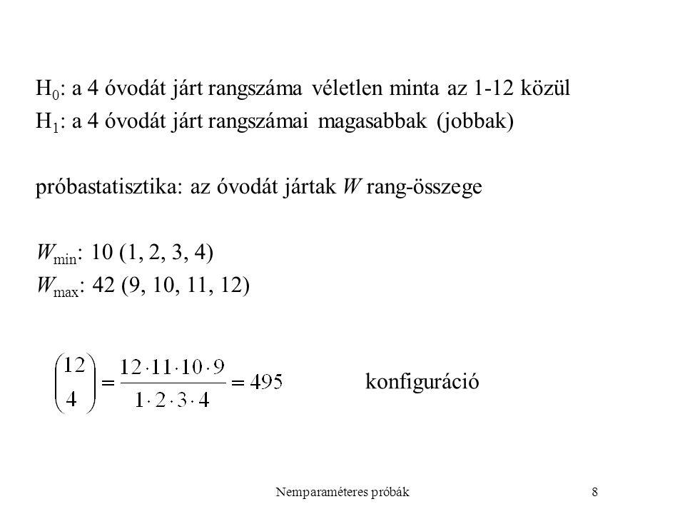 Nemparaméteres próbák9 Aktuálisan az óvodát jártak rangszámai: 4,7,8,11 W=30 kismintás eljárás döntés?