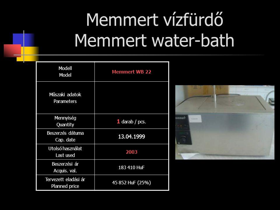 Memmert vízfürdő Memmert water-bath Modell Model Memmert WB 22 Műszaki adatok Parameters Mennyiség Quantity 1 darab / pcs. Beszerzés dátuma Cap. date