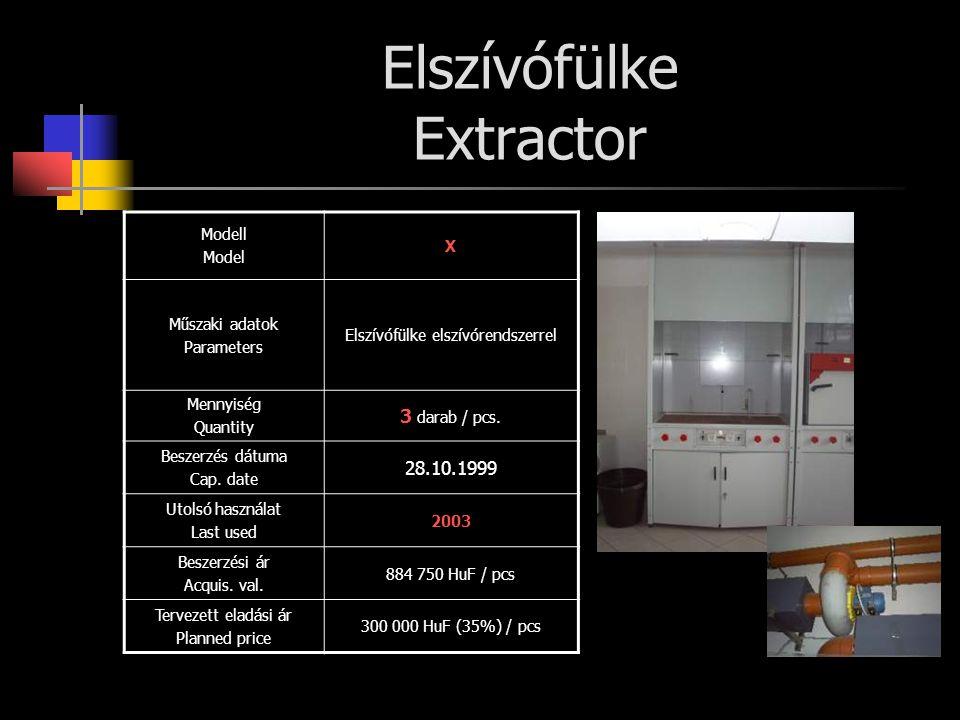 Elszívófülke Extractor Modell Model X Műszaki adatok Parameters Elszívófülke elszívórendszerrel Mennyiség Quantity 3 darab / pcs. Beszerzés dátuma Cap