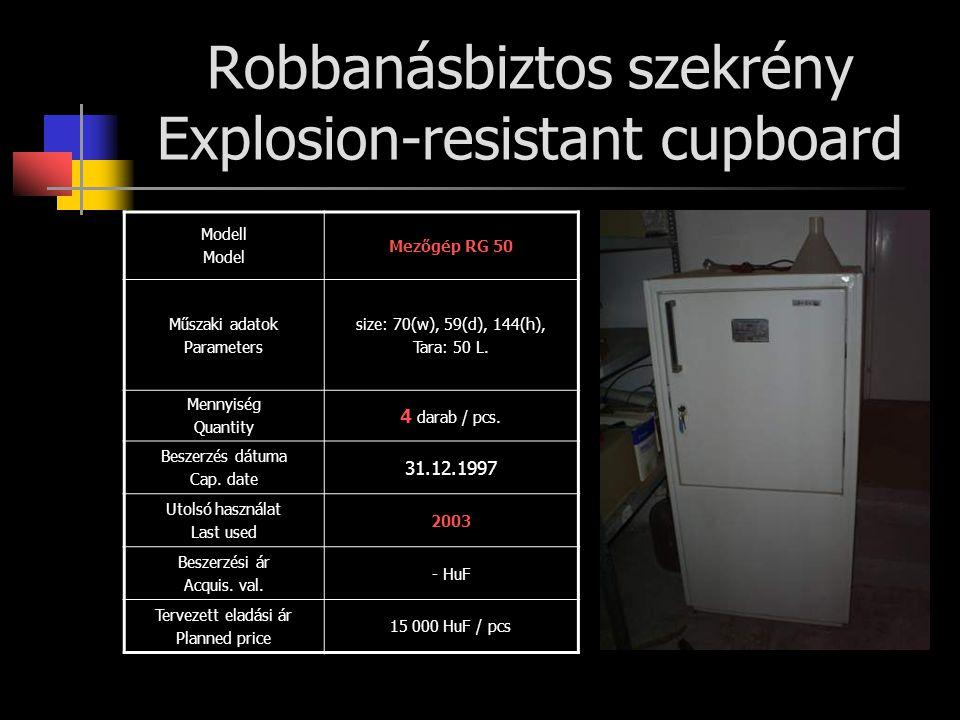 Robbanásbiztos szekrény Explosion-resistant cupboard Modell Model Mezőgép RG 50 Műszaki adatok Parameters size: 70(w), 59(d), 144(h), Tara: 50 L. Menn