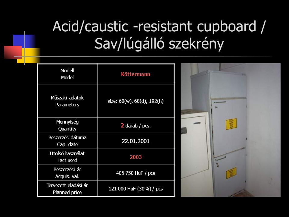 Acid/caustic -resistant cupboard / Sav/lúgálló szekrény Modell Model Köttermann Műszaki adatok Parameters size: 60(w), 68(d), 192(h) Mennyiség Quantity 2 darab / pcs.