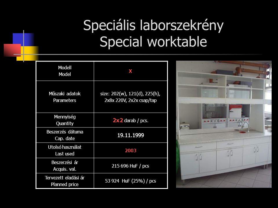 Speciális laborszekrény Special worktable Modell Model X Műszaki adatok Parameters size: 202(w), 121(d), 225(h), 2x8x 220V, 2x2x csap/tap Mennyiség Quantity 2x2 darab / pcs.