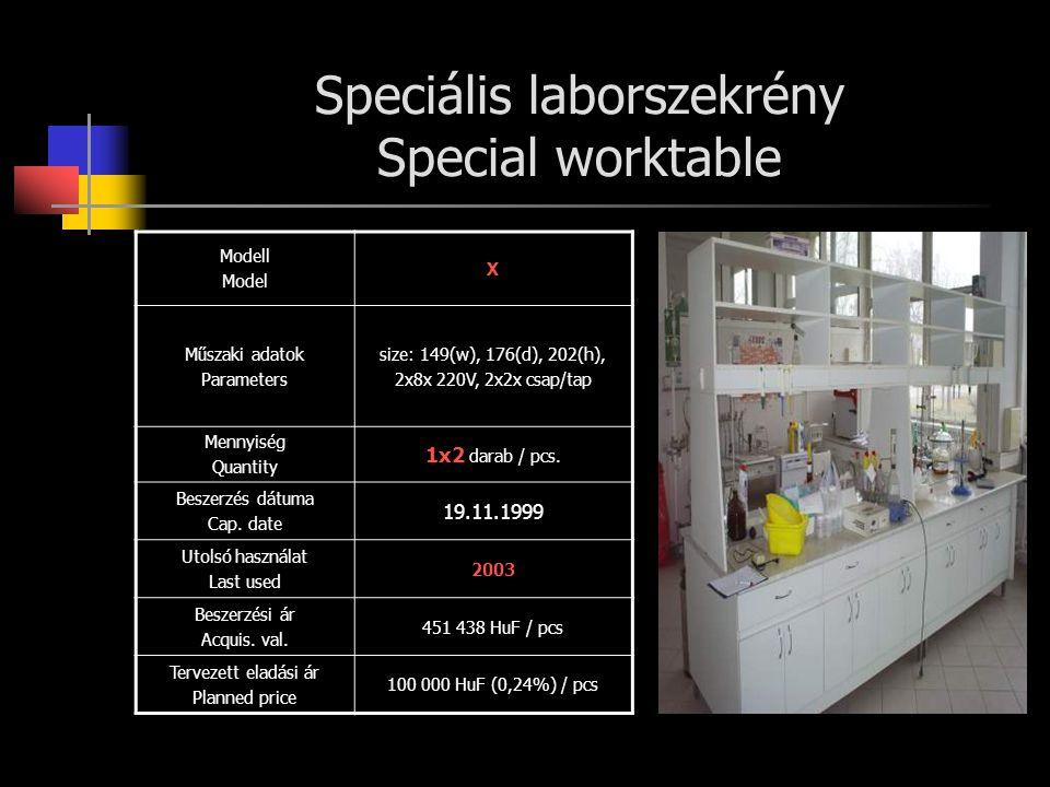 Speciális laborszekrény Special worktable Modell Model X Műszaki adatok Parameters size: 149(w), 176(d), 202(h), 2x8x 220V, 2x2x csap/tap Mennyiség Qu