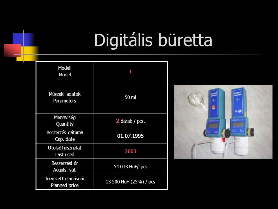 Digitális büretta Modell Model 1 Műszaki adatok Parameters 50 ml Mennyiség Quantity 2 darab / pcs. Beszerzés dátuma Cap. date 01.07.1995 Utolsó haszná