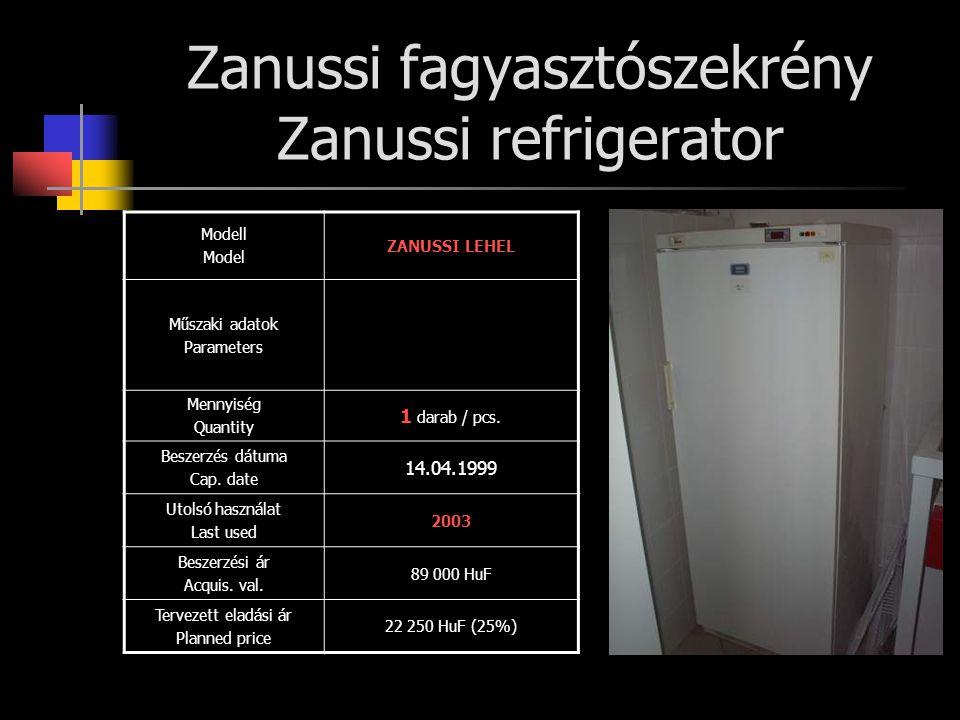 Zanussi fagyasztószekrény Zanussi refrigerator Modell Model ZANUSSI LEHEL Műszaki adatok Parameters Mennyiség Quantity 1 darab / pcs. Beszerzés dátuma