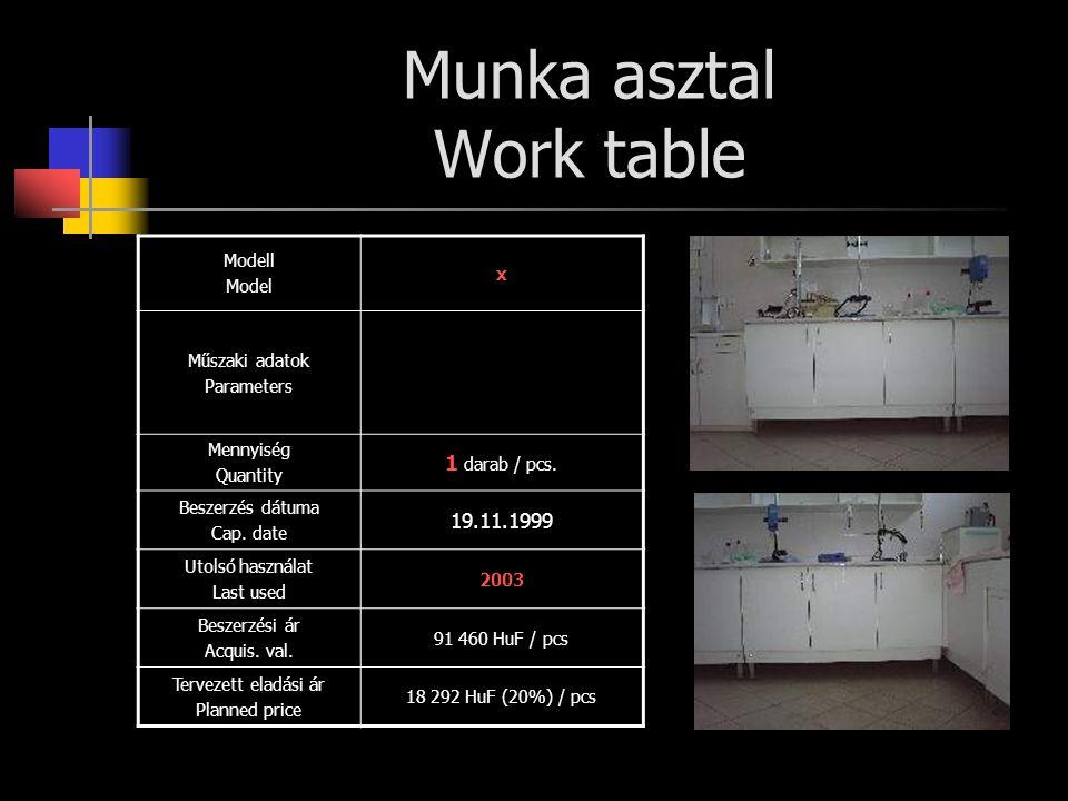 Munka asztal Work table Modell Model x Műszaki adatok Parameters Mennyiség Quantity 1 darab / pcs. Beszerzés dátuma Cap. date 19.11.1999 Utolsó haszná