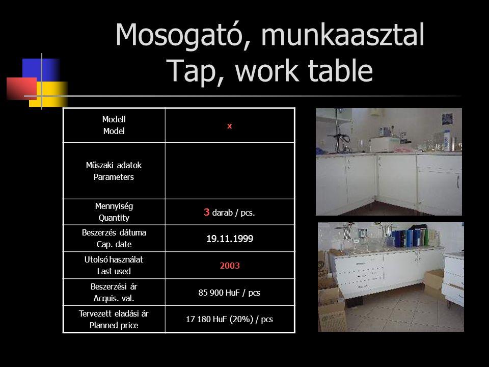 Mosogató, munkaasztal Tap, work table Modell Model x Műszaki adatok Parameters Mennyiség Quantity 3 darab / pcs. Beszerzés dátuma Cap. date 19.11.1999