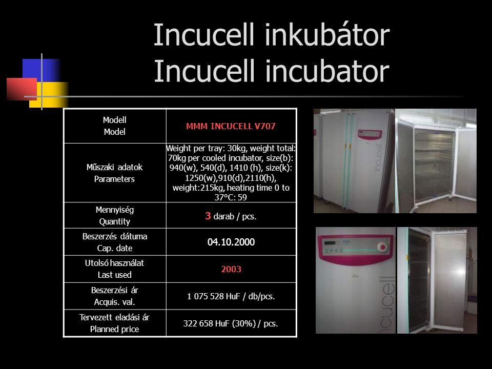 Friocell hűtő- fűtő termosztátszekrény Friocell refrigerator Modell Model MMM Fiocell 222 Műszaki adatok Parameters Weight per tray: 30kg, weight total: 70kg per cooled incubator, size(b): 540(w), 540(d), 760 (h), size(k): 760(w), 740(d), 1100(h), weight: 99kg, heating time 0 to 100°C: 50 Mennyiség Quantity 2 darab / pcs.