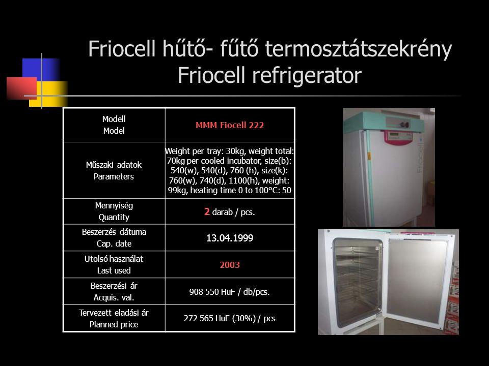 Sanyo hűtő inkubátor Sanyo cooled incubator Modell Model Sanyo MIR-153 Műszaki adatok Parameters capacity: 126L, heater: 141 W, control range: -10 to +50 °C, ext.dim.: 700(w), 580(d), 1618(h), int.dim.: 620(w), 386(d), 1075(h), compressor:hermetic type 300W Mennyiség Quantity 1 darab / pcs.