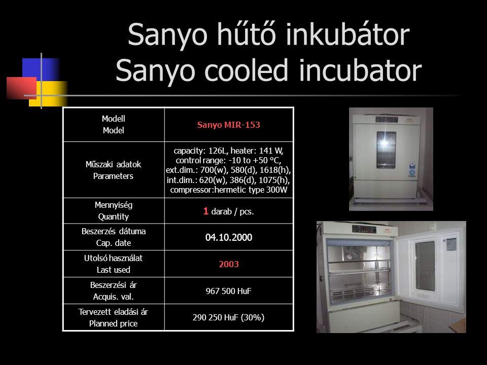 Sanyo hűtő inkubátor Sanyo cooled incubator Modell Model Sanyo MIR-153 Műszaki adatok Parameters capacity: 126L, heater: 141 W, control range: -10 to