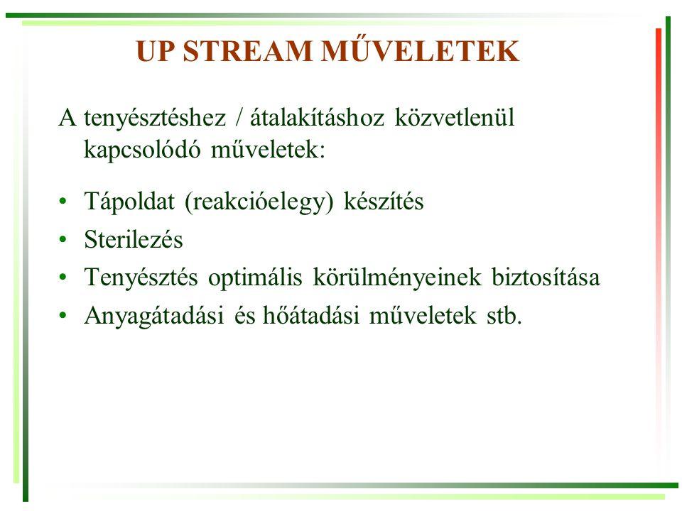 UP STREAM MŰVELETEK A tenyésztéshez / átalakításhoz közvetlenül kapcsolódó műveletek: Tápoldat (reakcióelegy) készítés Sterilezés Tenyésztés optimális