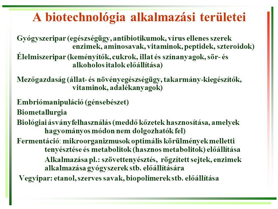 A biotechnológia alkalmazási területei Gyógyszeripar (egészségügy, antibiotikumok, vírus ellenes szerek enzimek, aminosavak, vitaminok, peptidek, szte