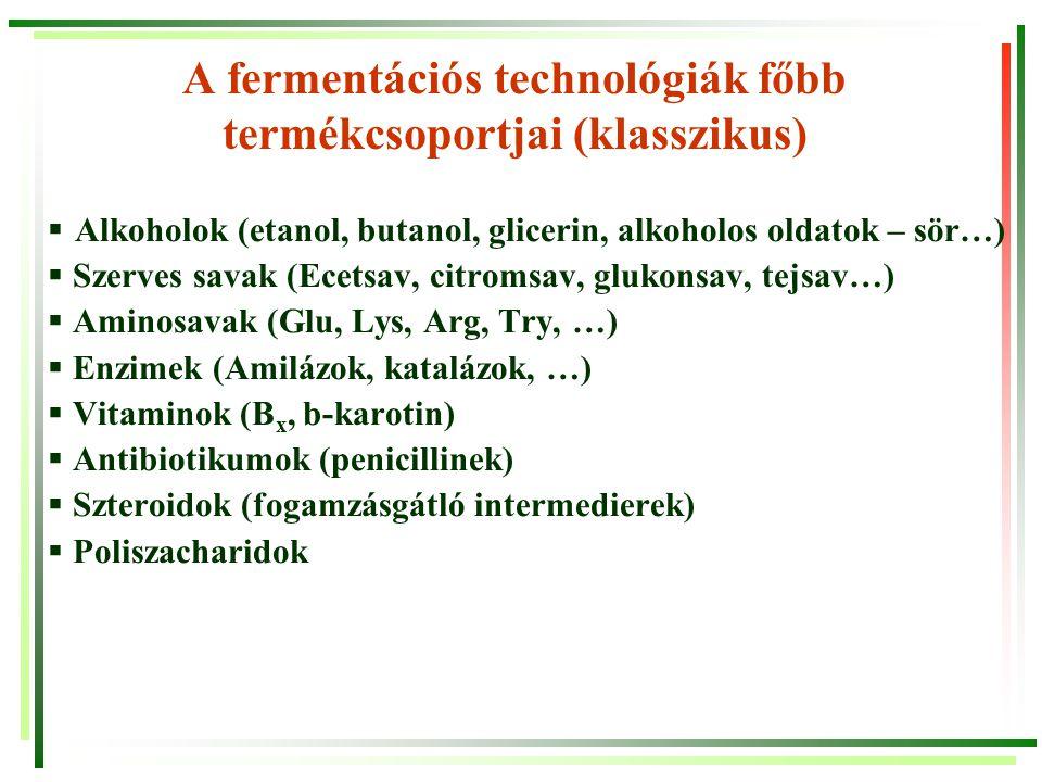A fermentációs technológiák főbb termékcsoportjai (klasszikus)  Alkoholok (etanol, butanol, glicerin, alkoholos oldatok – sör…)  Szerves savak (Ecet