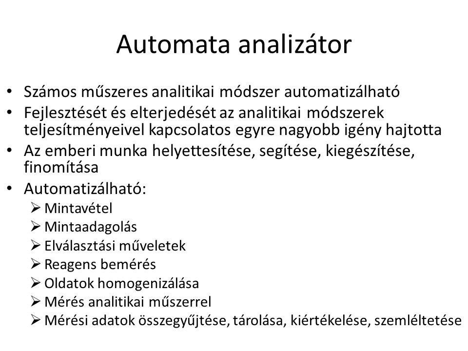 Automata analizátor Számos műszeres analitikai módszer automatizálható Fejlesztését és elterjedését az analitikai módszerek teljesítményeivel kapcsola
