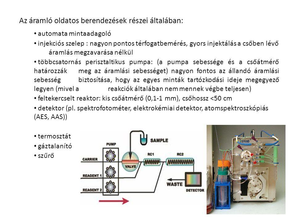 Az áramló oldatos berendezések részei általában: automata mintaadagoló injekciós szelep : nagyon pontos térfogatbemérés, gyors injektálás a csőben lév